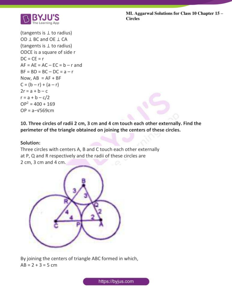 ml aggarwal solutions for class 10 maths chapter 15 circles 39