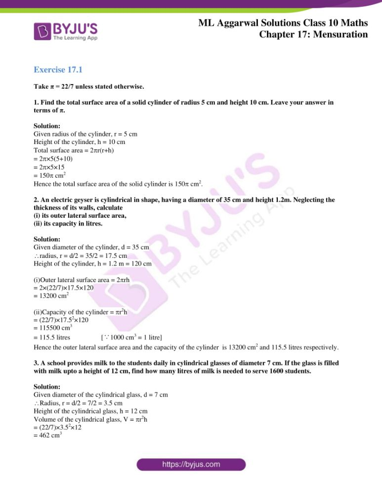 ml aggarwal solutions for class 10 maths chapter 17 mensuration 01