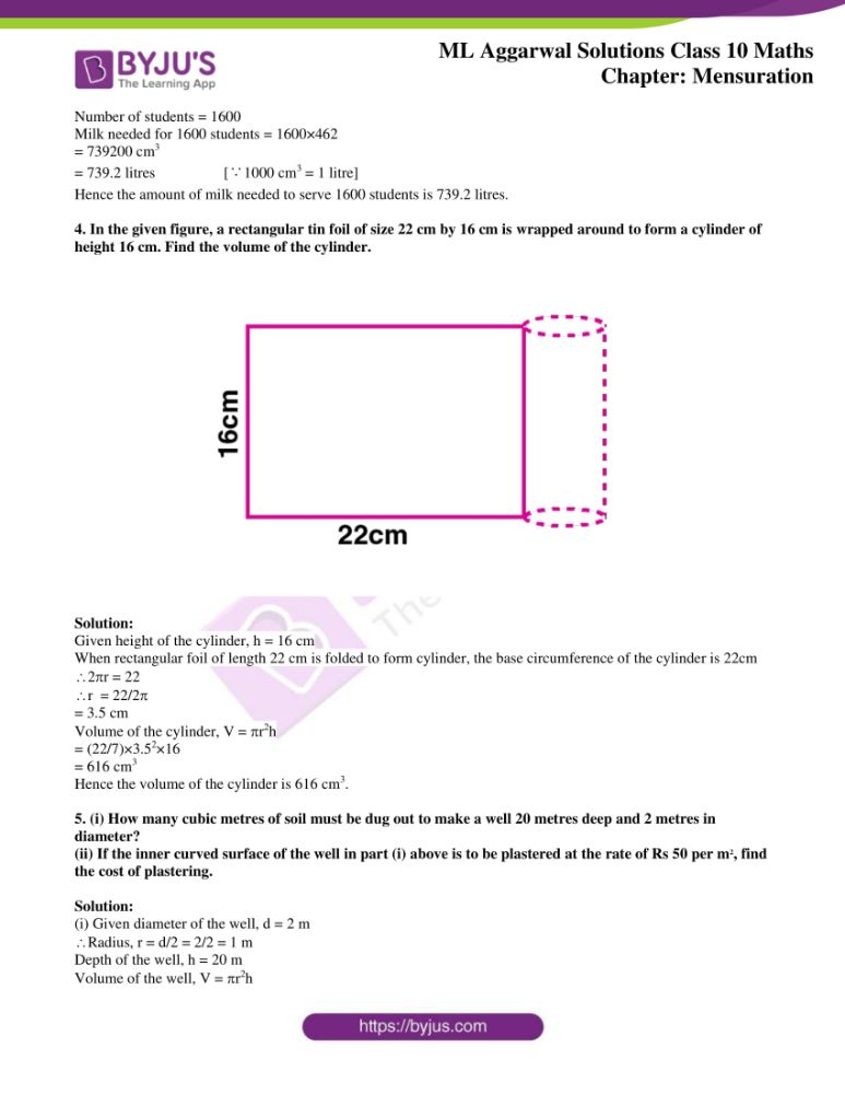 ml aggarwal solutions for class 10 maths chapter 17 mensuration 02