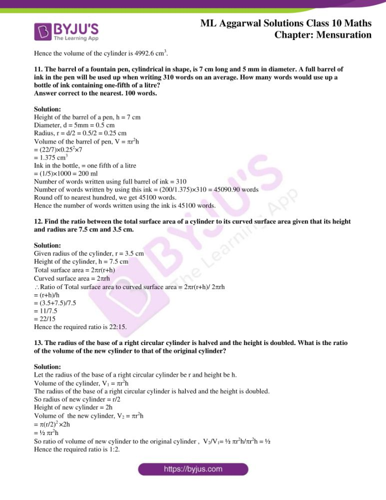 ml aggarwal solutions for class 10 maths chapter 17 mensuration 05