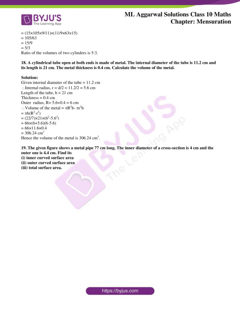 ml aggarwal solutions for class 10 maths chapter 17 mensuration 08