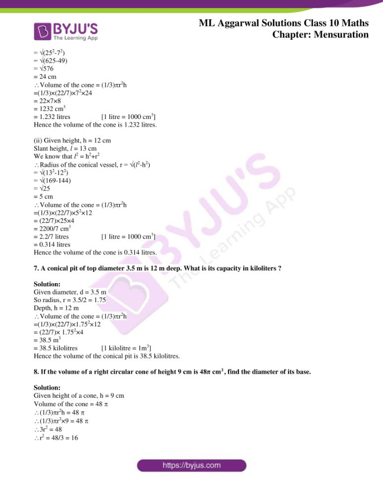 ml aggarwal solutions for class 10 maths chapter 17 mensuration 14
