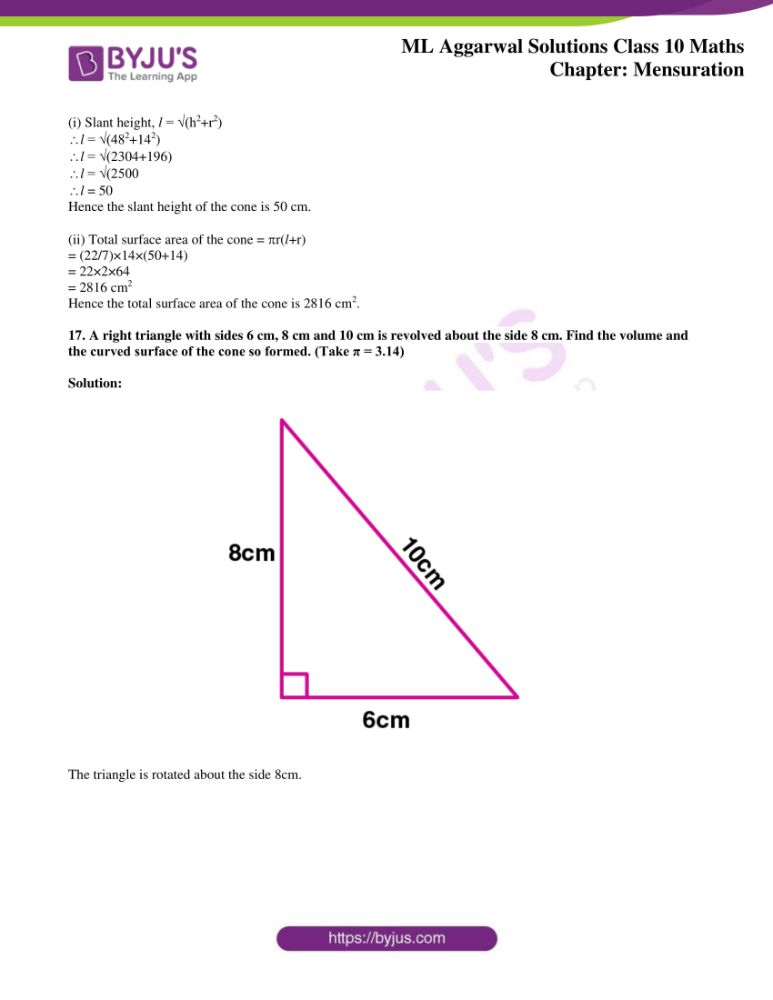 ml aggarwal solutions for class 10 maths chapter 17 mensuration 19