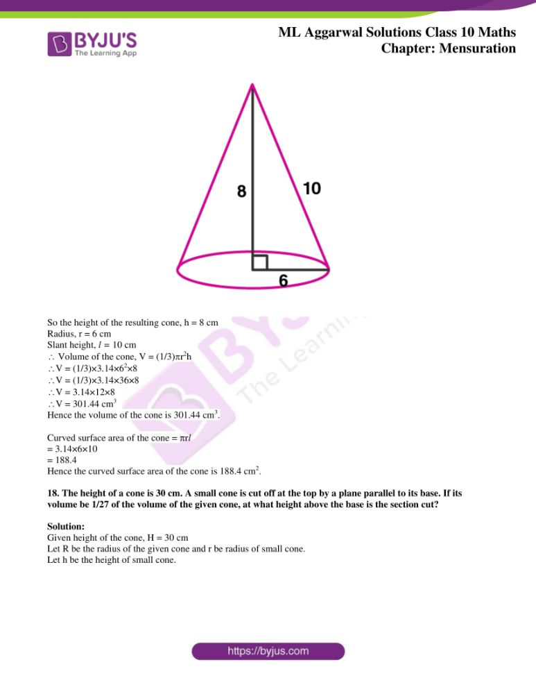 ml aggarwal solutions for class 10 maths chapter 17 mensuration 20