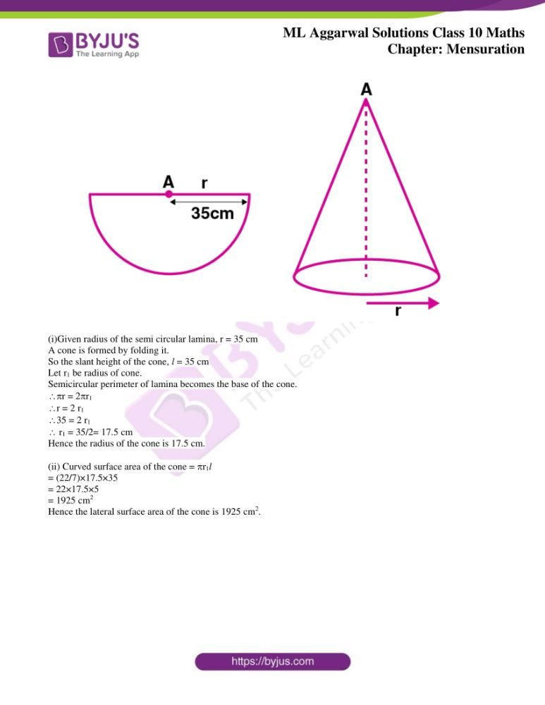 ml aggarwal solutions for class 10 maths chapter 17 mensuration 22