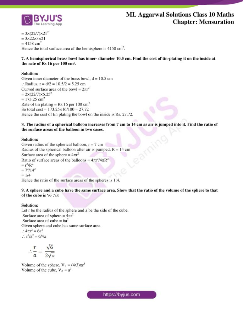 ml aggarwal solutions for class 10 maths chapter 17 mensuration 25