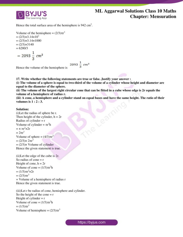 ml aggarwal solutions for class 10 maths chapter 17 mensuration 29