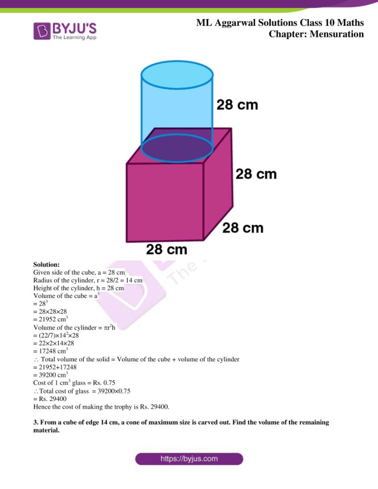 ml aggarwal solutions for class 10 maths chapter 17 mensuration 32