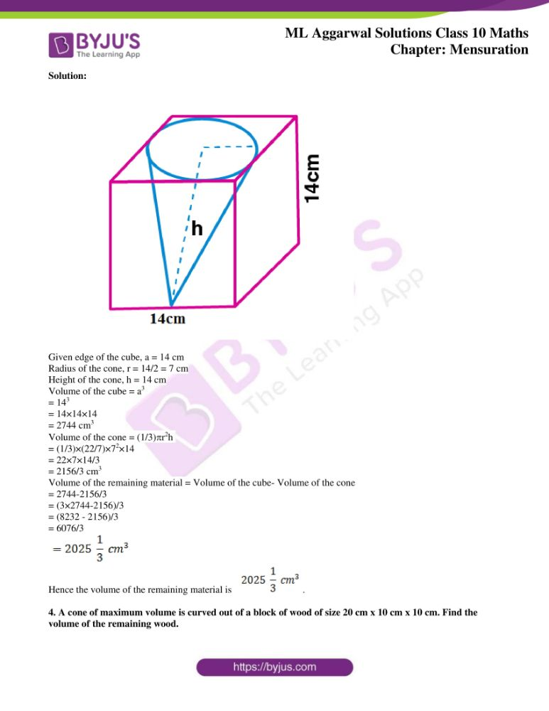 ml aggarwal solutions for class 10 maths chapter 17 mensuration 33