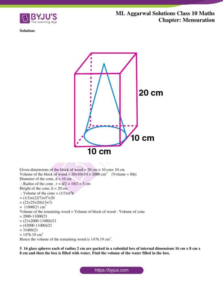 ml aggarwal solutions for class 10 maths chapter 17 mensuration 34