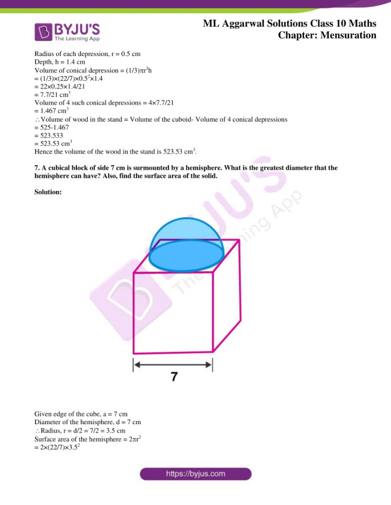 ml aggarwal solutions for class 10 maths chapter 17 mensuration 36