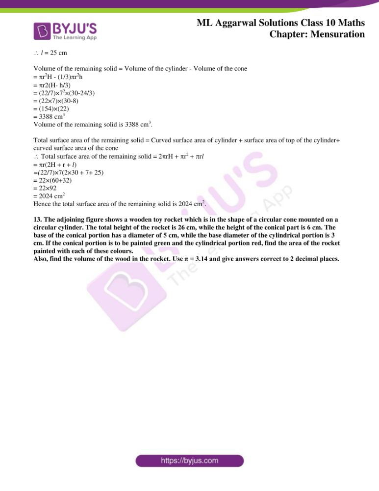 ml aggarwal solutions for class 10 maths chapter 17 mensuration 43