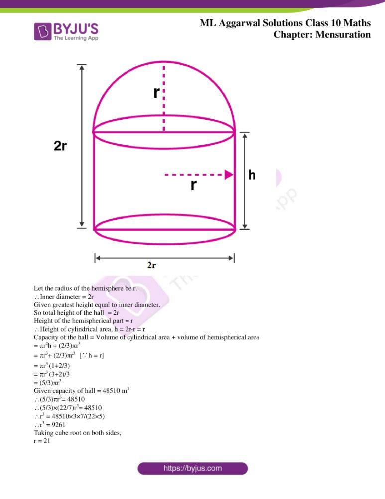 ml aggarwal solutions for class 10 maths chapter 17 mensuration 49