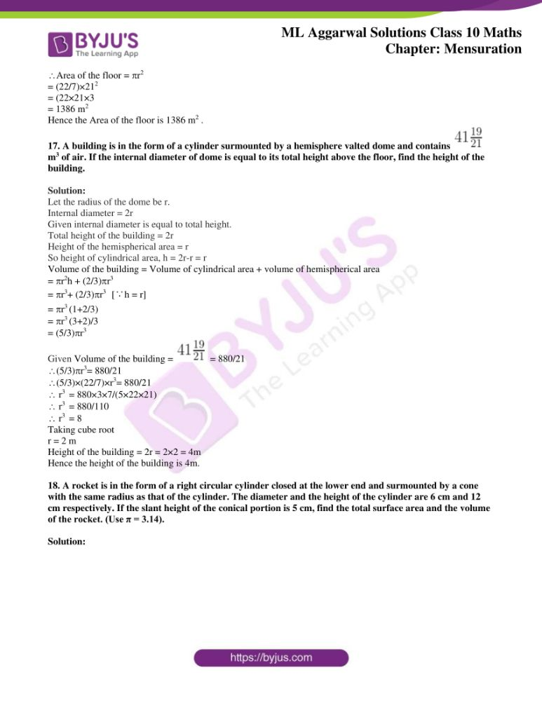 ml aggarwal solutions for class 10 maths chapter 17 mensuration 50