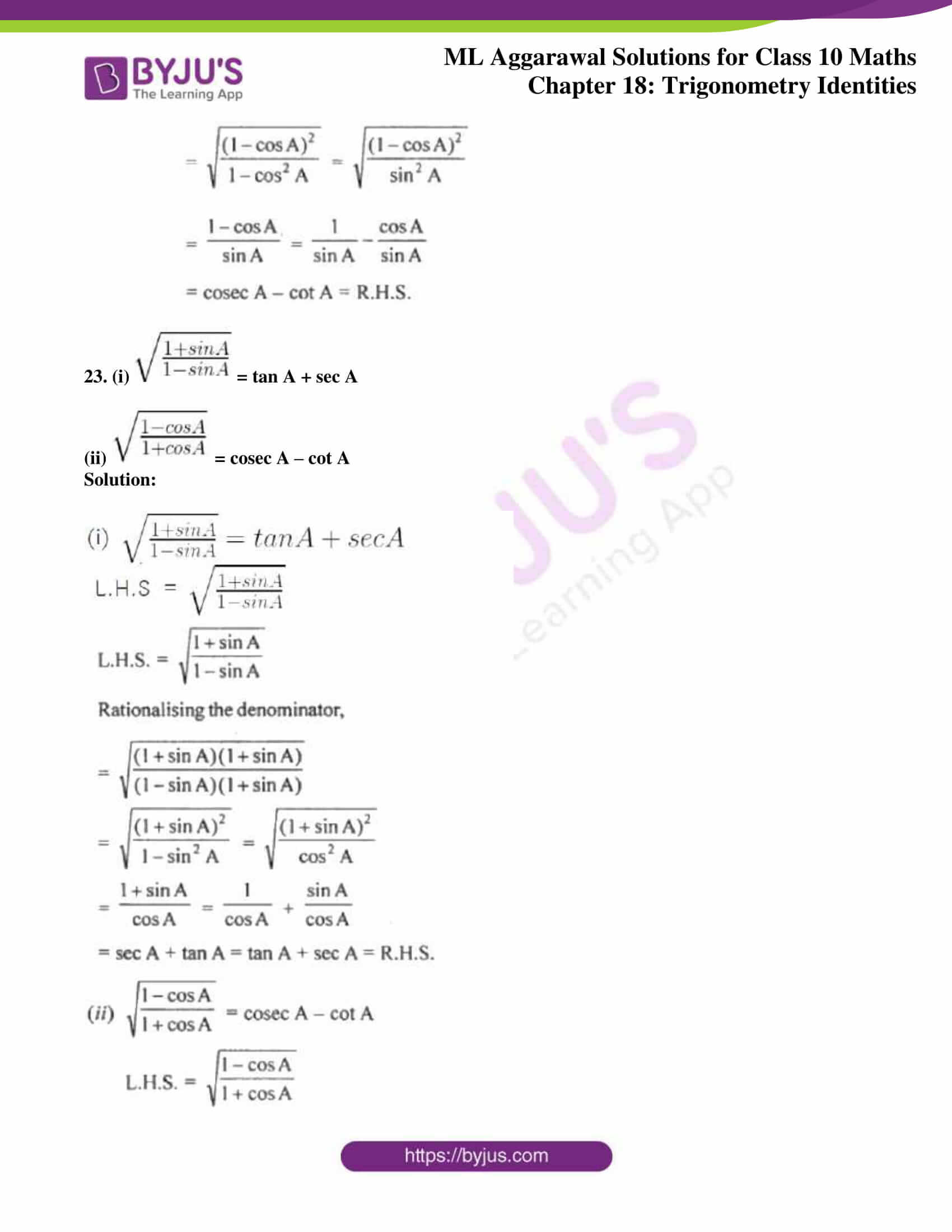 ml aggarwal solutions for class 10 maths chapter 18 16