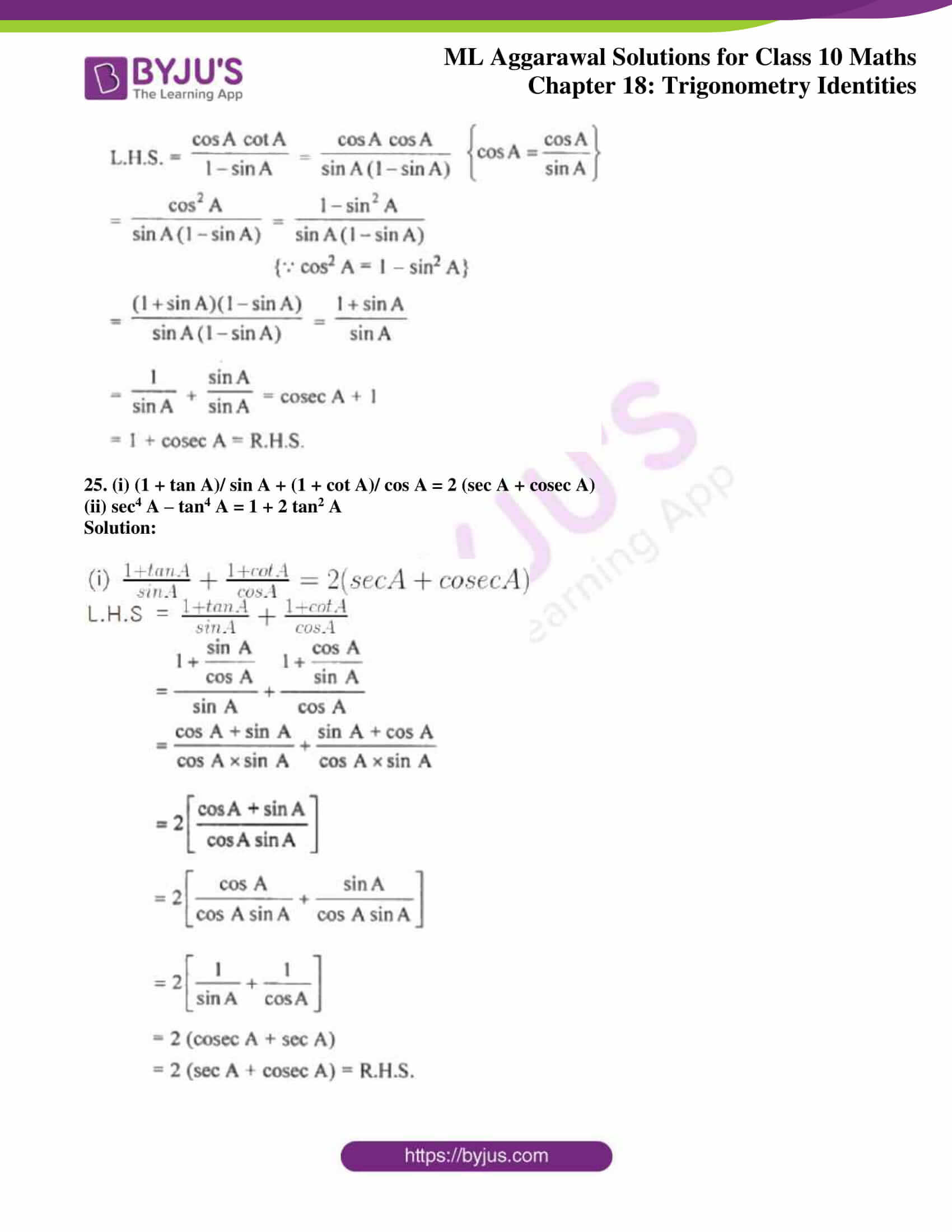 ml aggarwal solutions for class 10 maths chapter 18 18