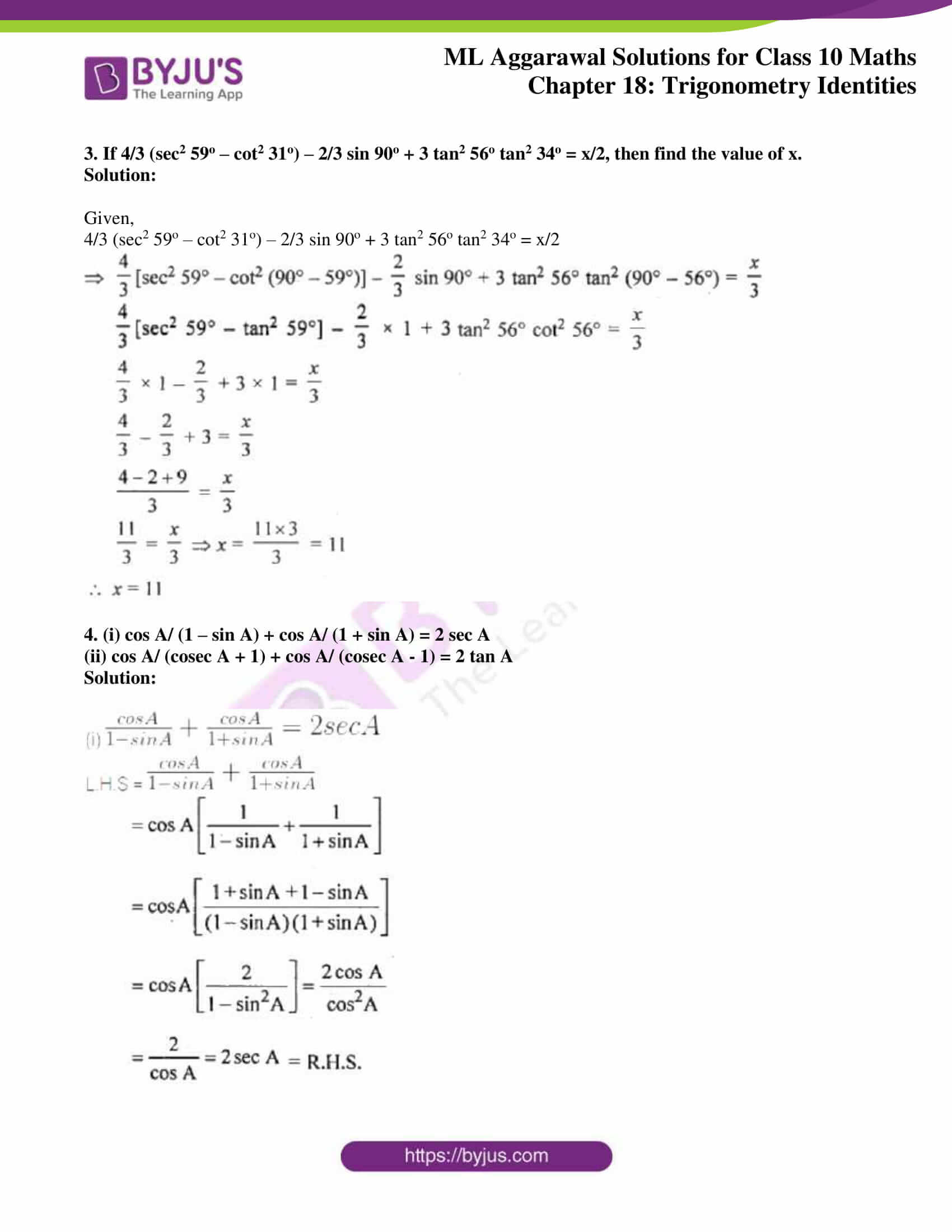 ml aggarwal solutions for class 10 maths chapter 18 29