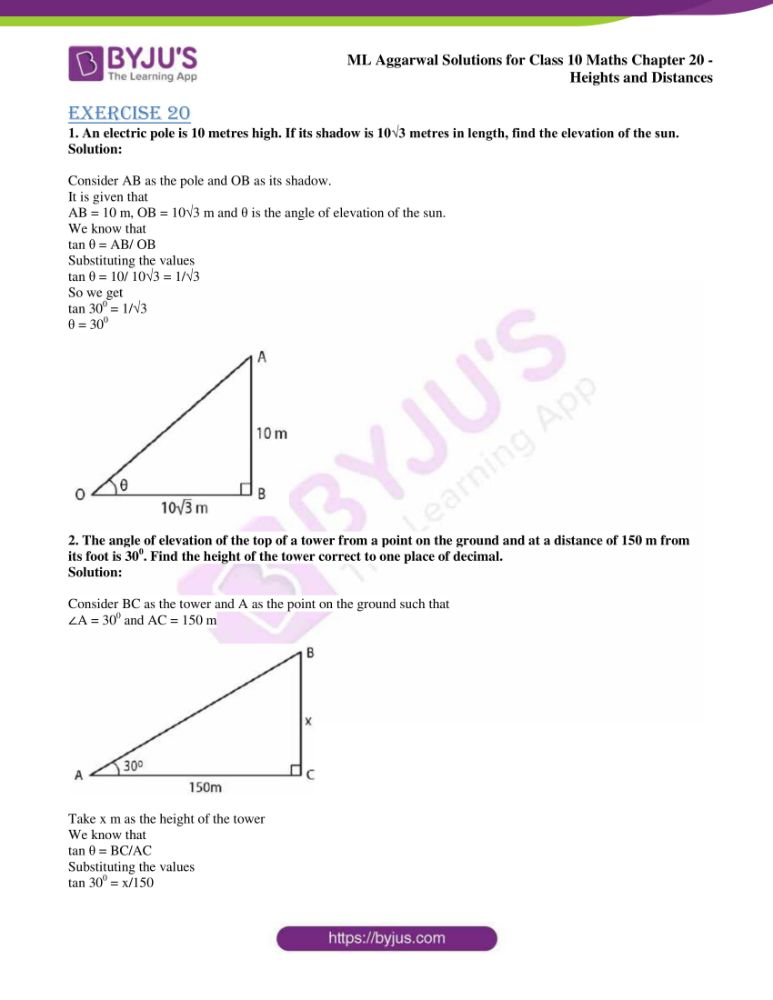 ml aggarwal solutions for class 10 maths chapter 20 heights and distances 01