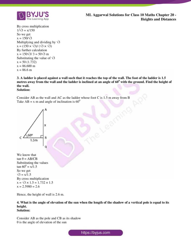 ml aggarwal solutions for class 10 maths chapter 20 heights and distances 02