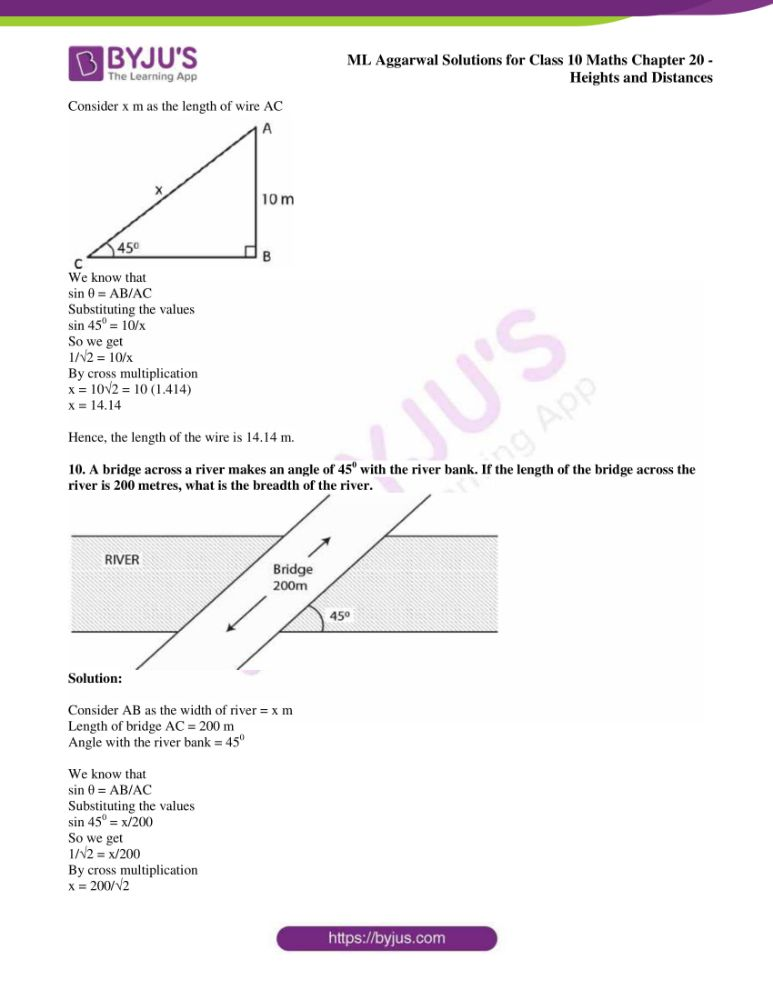 ml aggarwal solutions for class 10 maths chapter 20 heights and distances 06