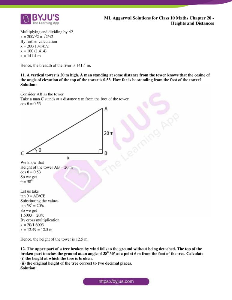 ml aggarwal solutions for class 10 maths chapter 20 heights and distances 07
