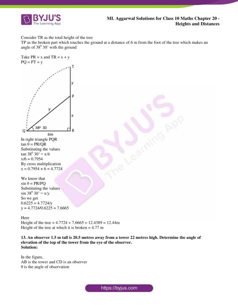 ml aggarwal solutions for class 10 maths chapter 20 heights and distances 08