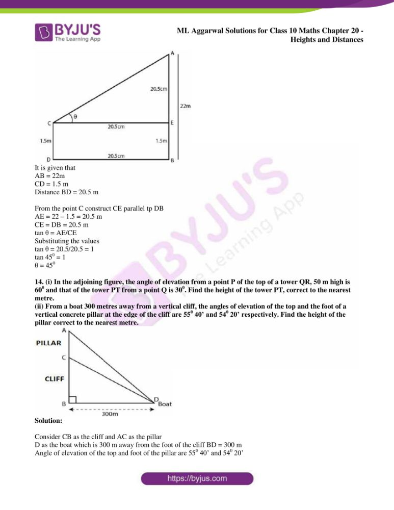 ml aggarwal solutions for class 10 maths chapter 20 heights and distances 09