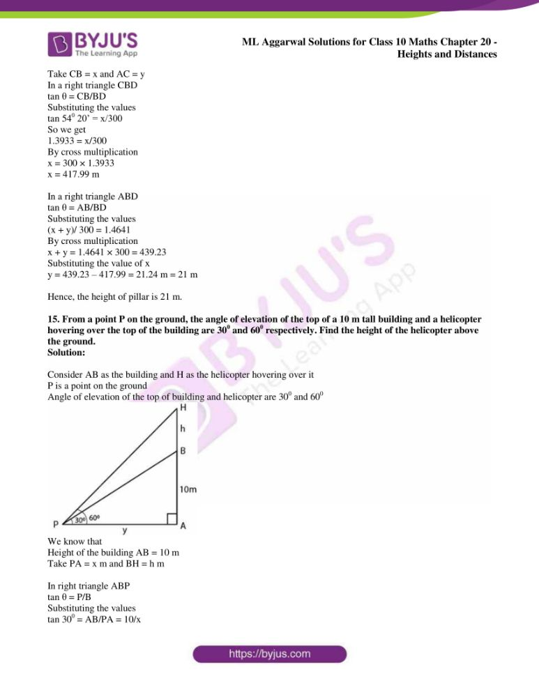 ml aggarwal solutions for class 10 maths chapter 20 heights and distances 10