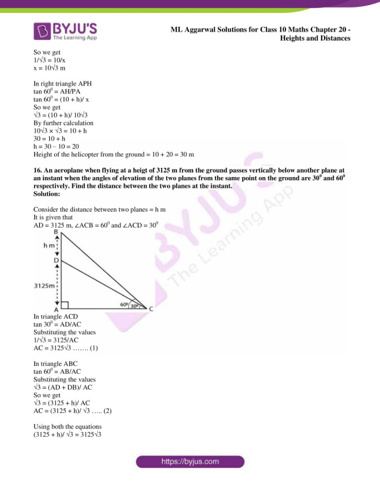 ml aggarwal solutions for class 10 maths chapter 20 heights and distances 11