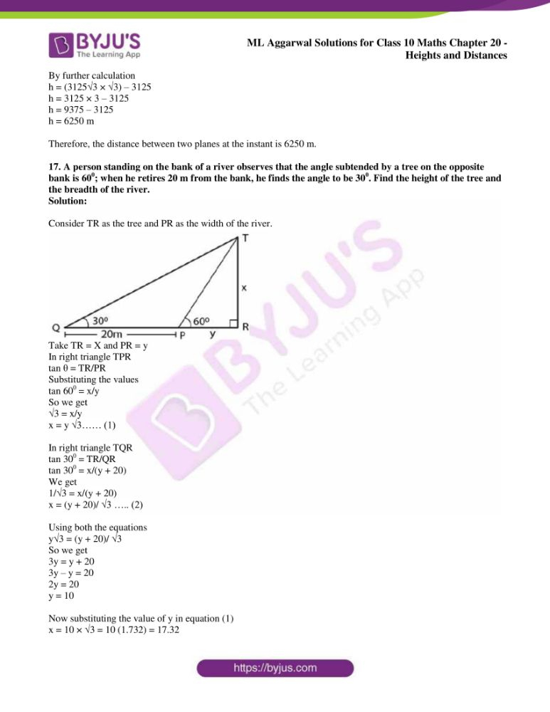 ml aggarwal solutions for class 10 maths chapter 20 heights and distances 12