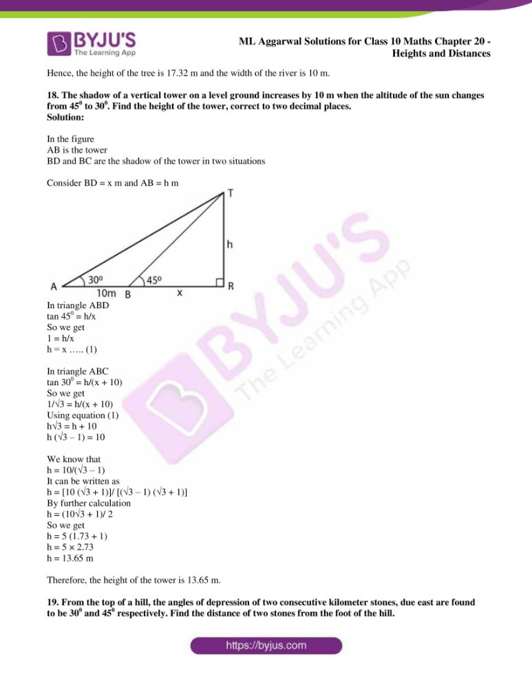 ml aggarwal solutions for class 10 maths chapter 20 heights and distances 13