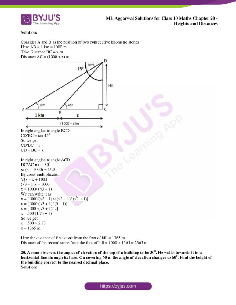 ml aggarwal solutions for class 10 maths chapter 20 heights and distances 14