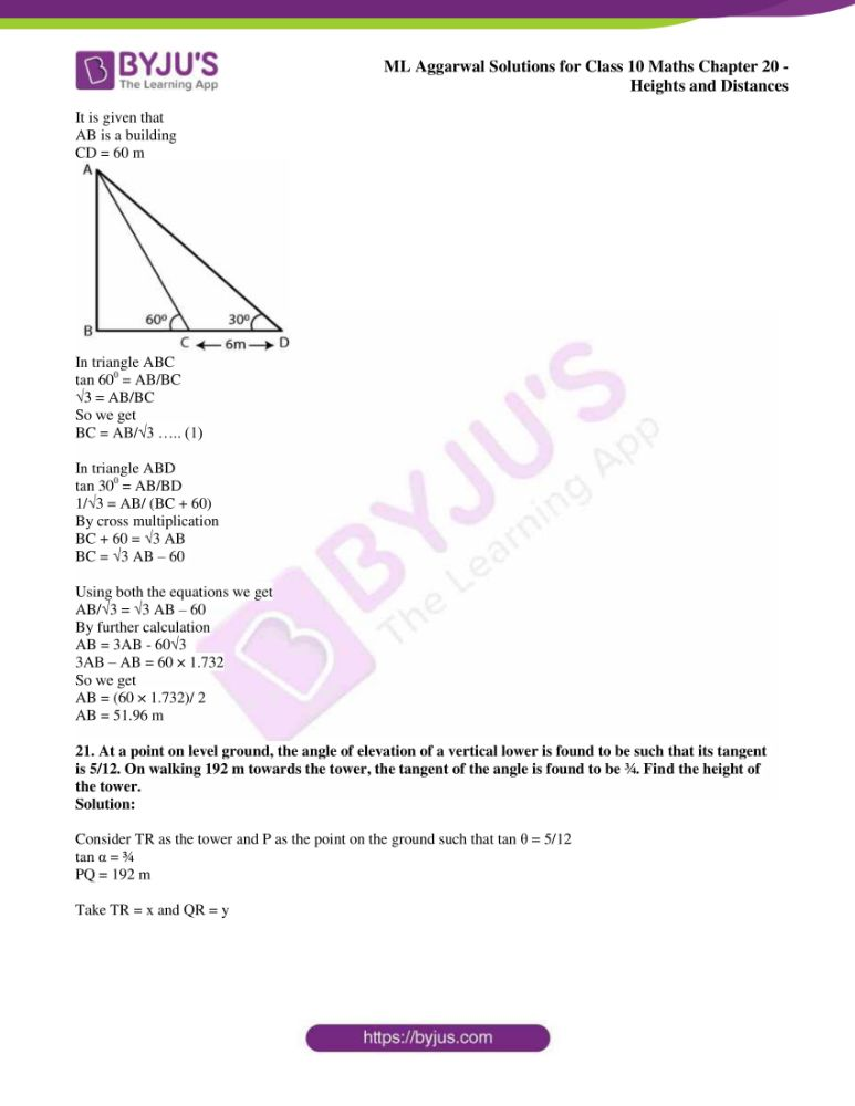 ml aggarwal solutions for class 10 maths chapter 20 heights and distances 15