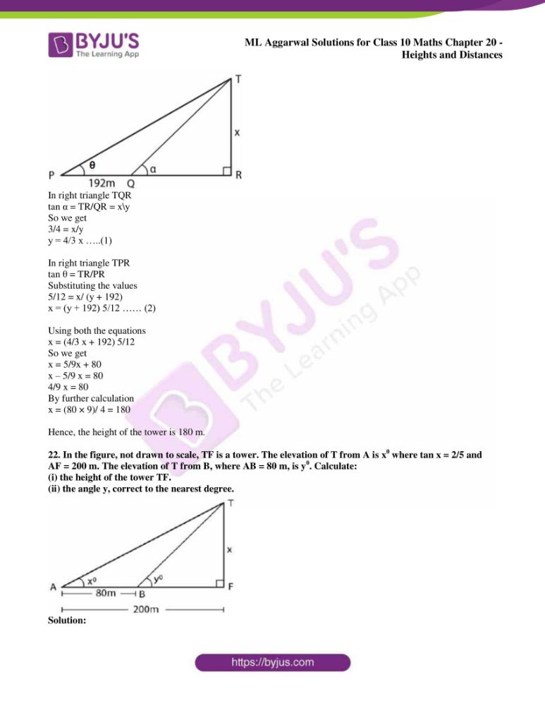 ml aggarwal solutions for class 10 maths chapter 20 heights and distances 16