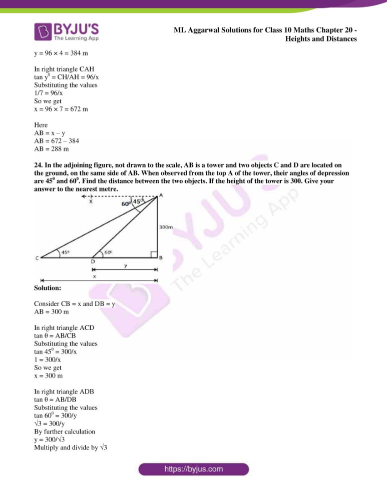 ml aggarwal solutions for class 10 maths chapter 20 heights and distances 18