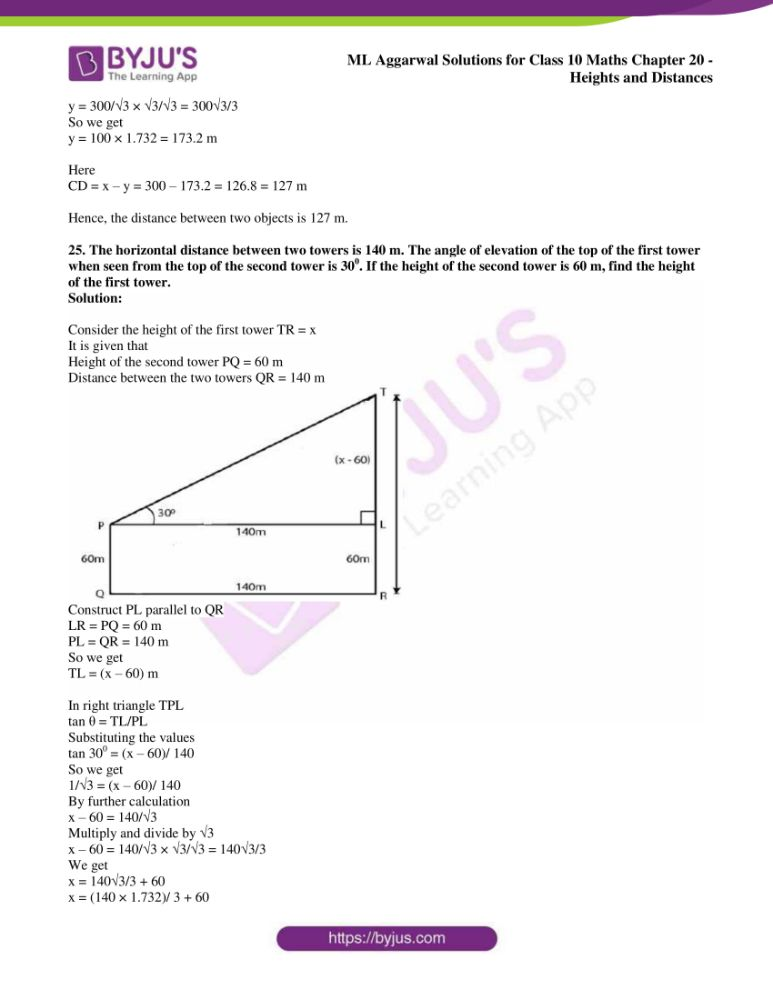 ml aggarwal solutions for class 10 maths chapter 20 heights and distances 19