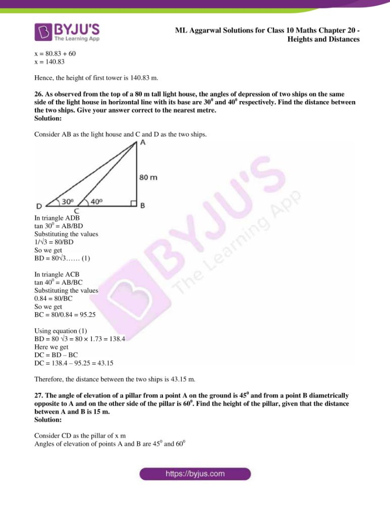 ml aggarwal solutions for class 10 maths chapter 20 heights and distances 20