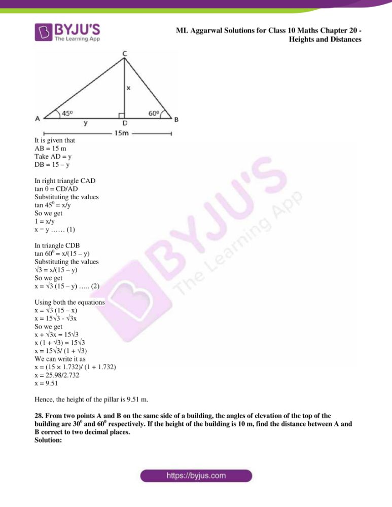 ml aggarwal solutions for class 10 maths chapter 20 heights and distances 21