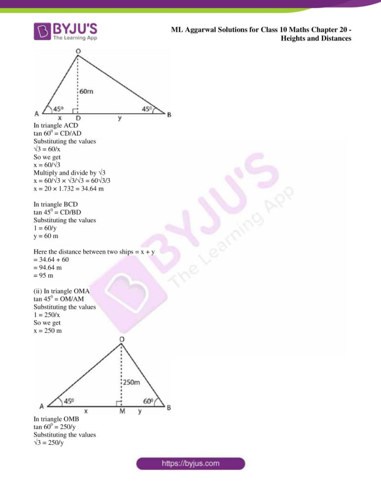ml aggarwal solutions for class 10 maths chapter 20 heights and distances 23