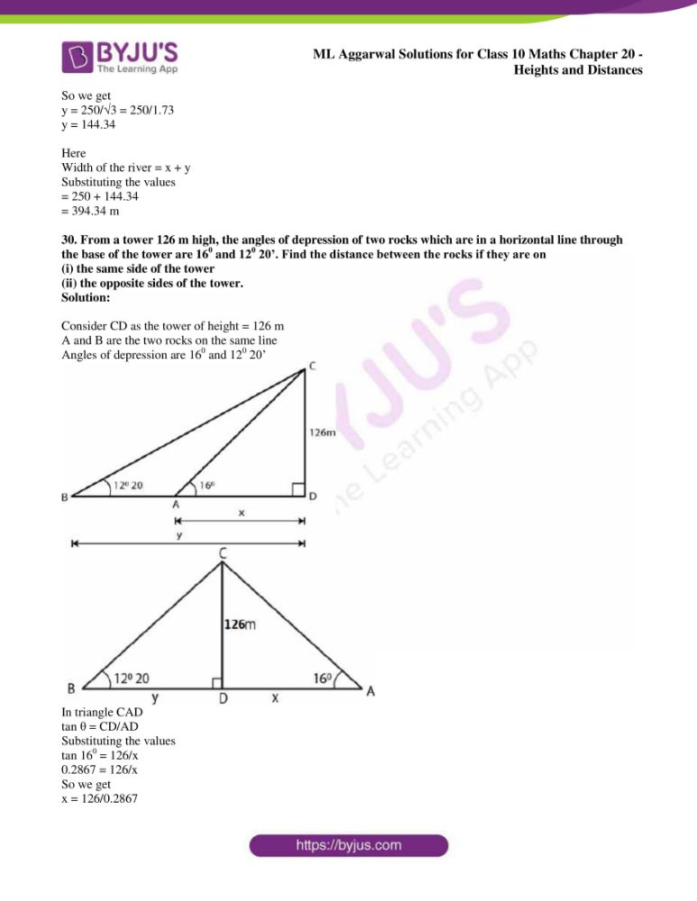 ml aggarwal solutions for class 10 maths chapter 20 heights and distances 24