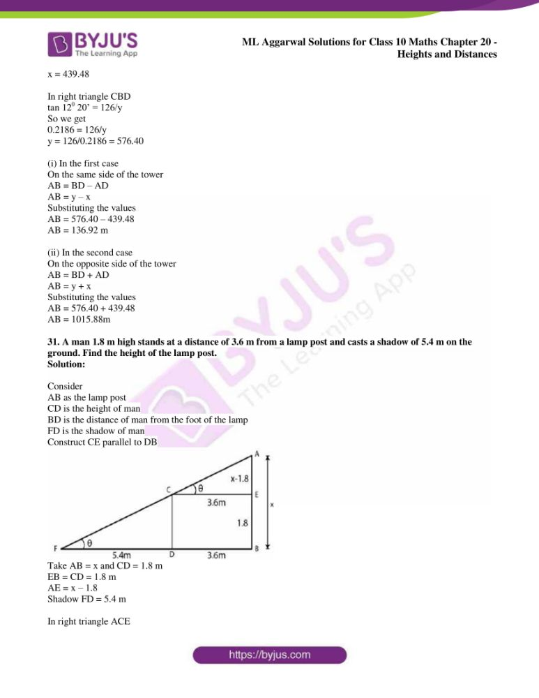 ml aggarwal solutions for class 10 maths chapter 20 heights and distances 25