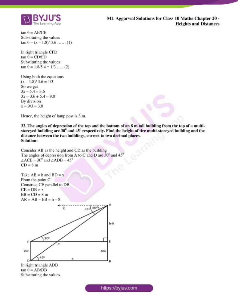 ml aggarwal solutions for class 10 maths chapter 20 heights and distances 26