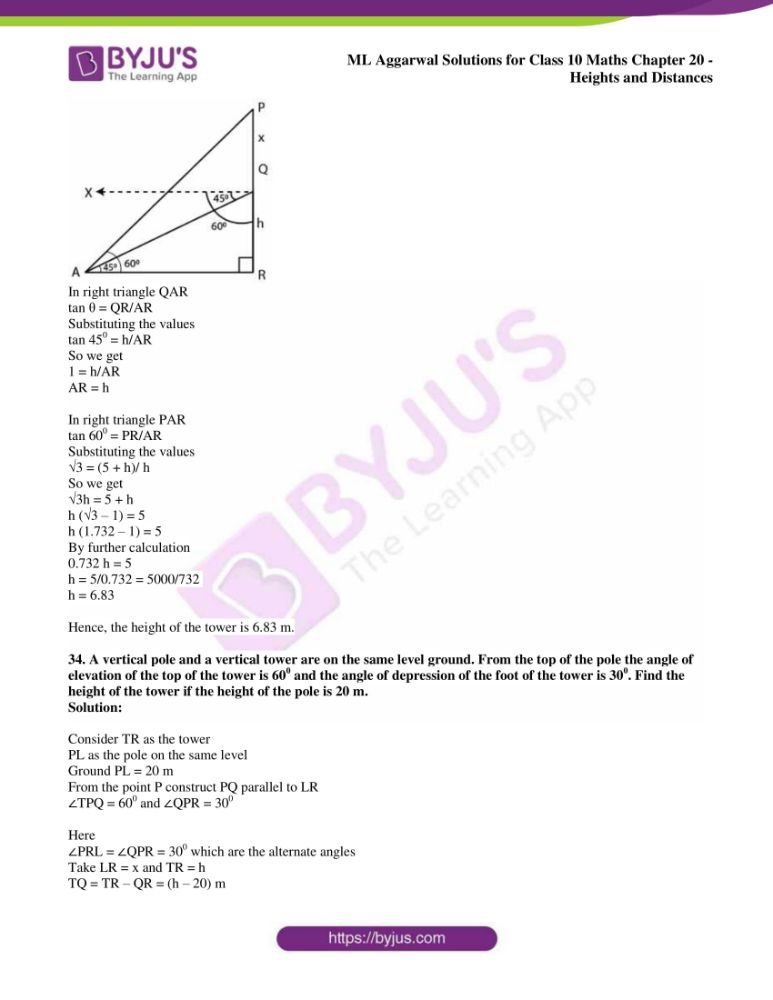 ml aggarwal solutions for class 10 maths chapter 20 heights and distances 28