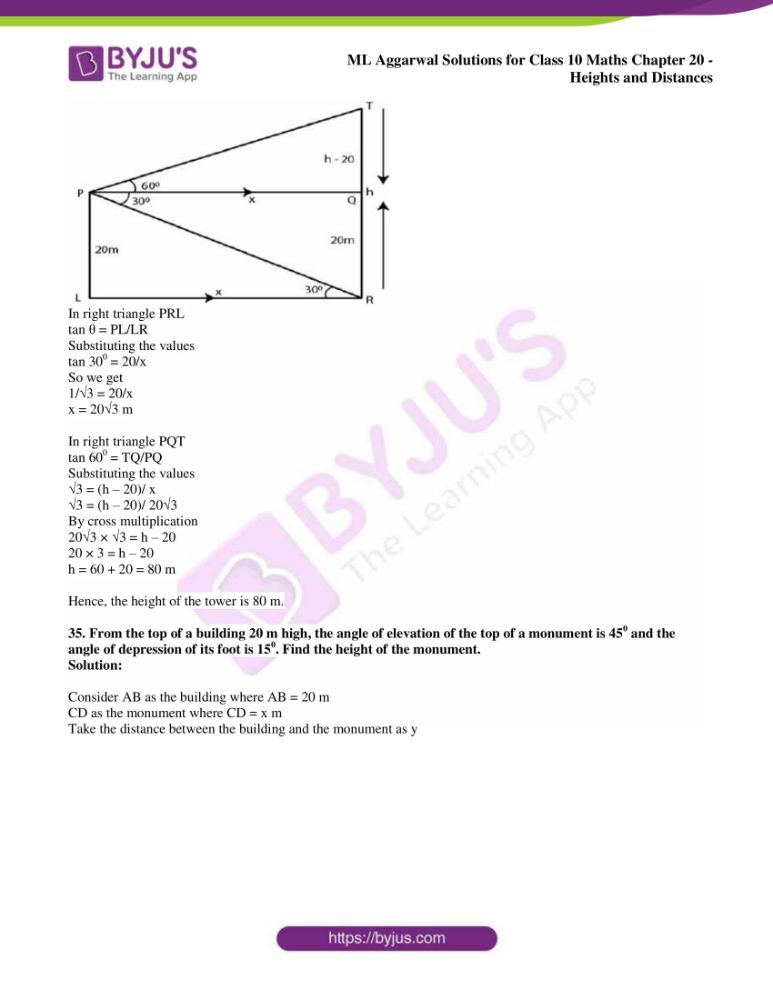 ml aggarwal solutions for class 10 maths chapter 20 heights and distances 29