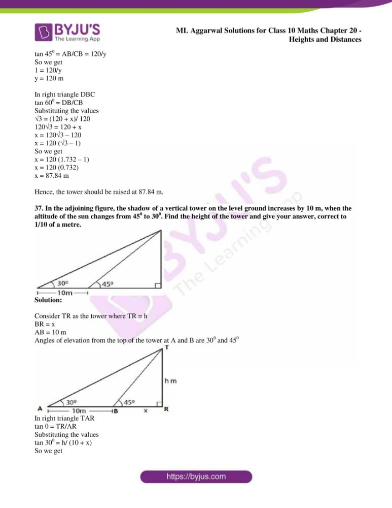 ml aggarwal solutions for class 10 maths chapter 20 heights and distances 31