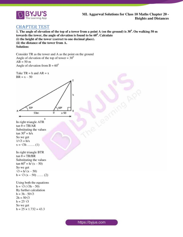 ml aggarwal solutions for class 10 maths chapter 20 heights and distances 34