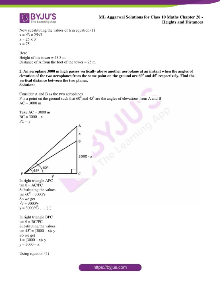 ml aggarwal solutions for class 10 maths chapter 20 heights and distances 35