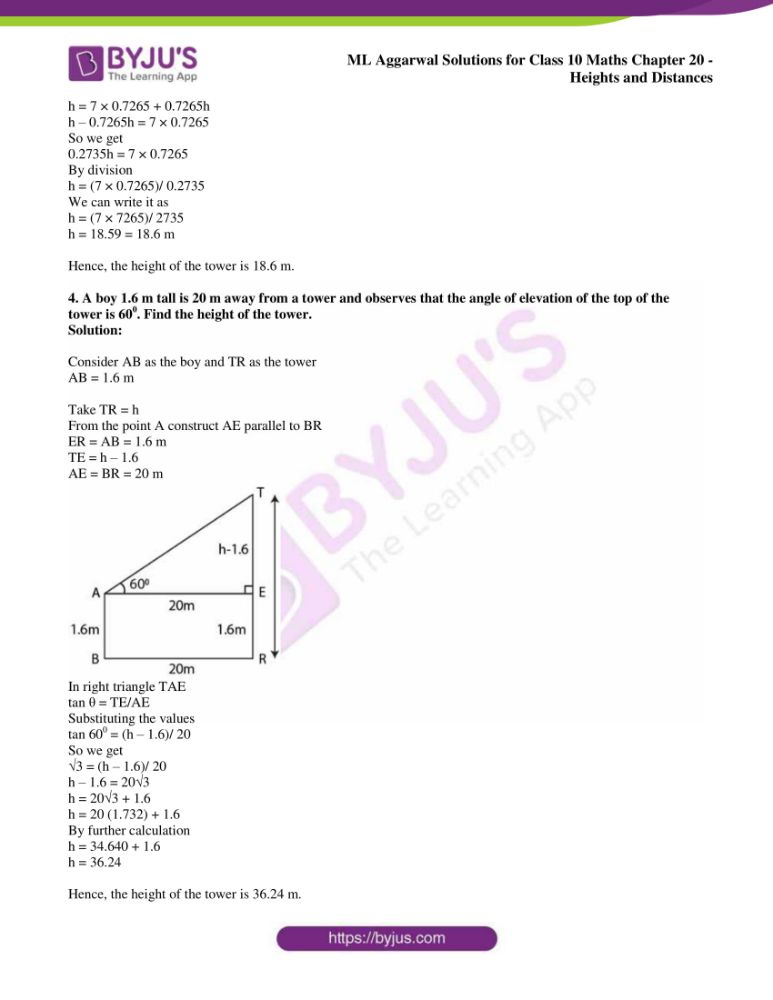 ml aggarwal solutions for class 10 maths chapter 20 heights and distances 37