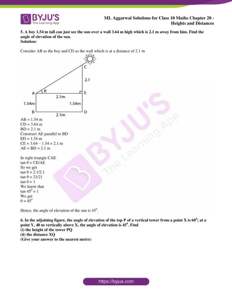 ml aggarwal solutions for class 10 maths chapter 20 heights and distances 38