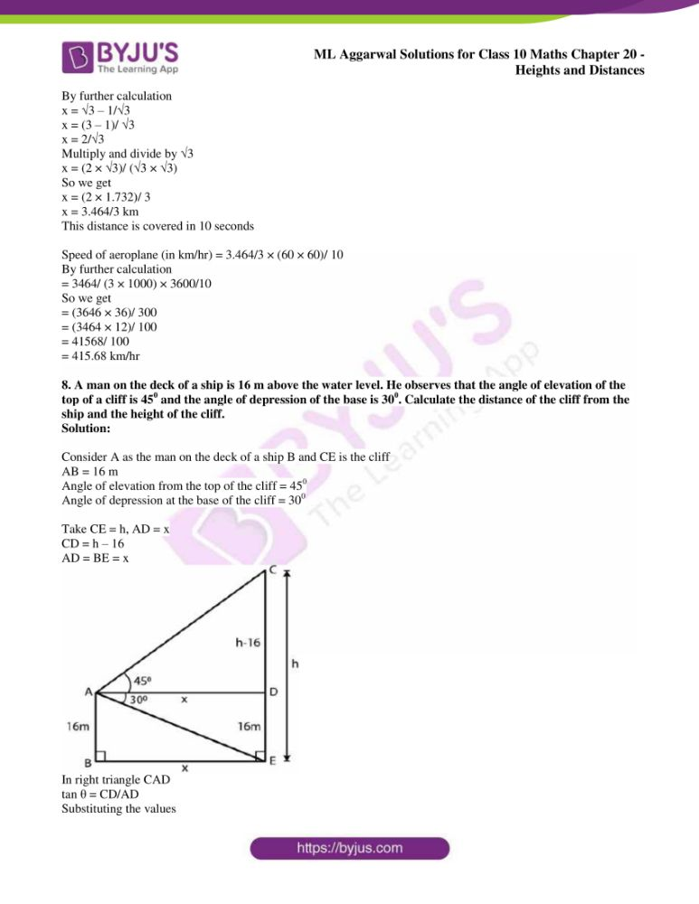 ml aggarwal solutions for class 10 maths chapter 20 heights and distances 41